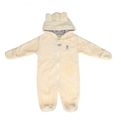 Chinatera Baby Boys Girls Winter Clothes Cartoon Bear Coral Velvet Coverall Hooded Romper