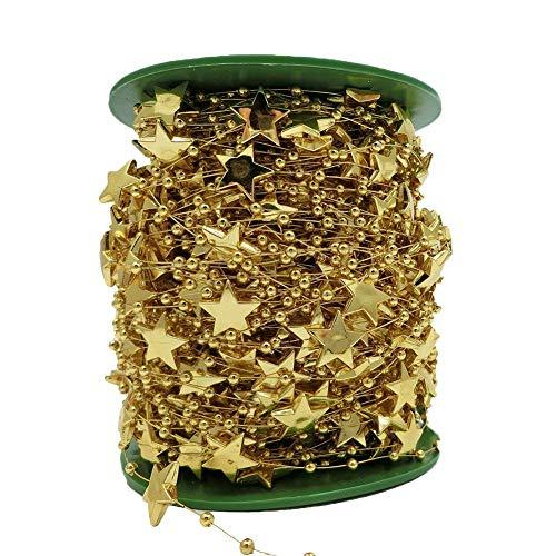BoJia 200ft 15mm Star Shape Crystal Beads for DIY Christmas Tree Accessories Electroplating Wedding Garland,DIY Clothing DIY Bracelet (Gold) ()