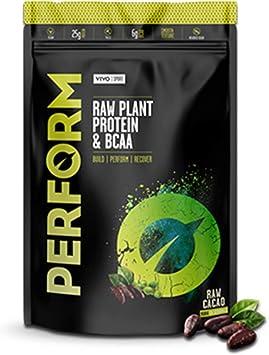 Vivo Life Perform - Polvo de Proteína Vegana, Sabor Cacao - Mezcla de Proteína de Guisante y Cáñamo con BCAA | Sin Gluten ni Soja (503g)