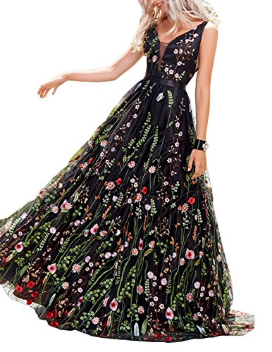 (LMBRIDAL Women's Embroidery Floral Print Ball Gown V Neck Evening Prom Dresses Black 2 )