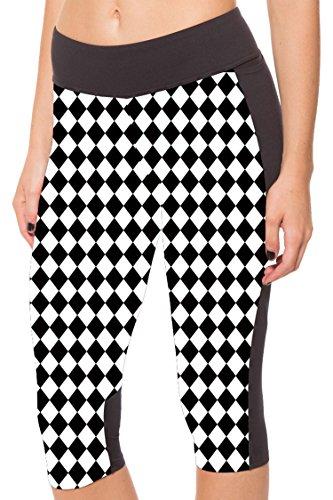 Ladies Stetchy Chessboard Printed Relaxed Leisure Leggings Short Pants Slacks 2XL Black&White