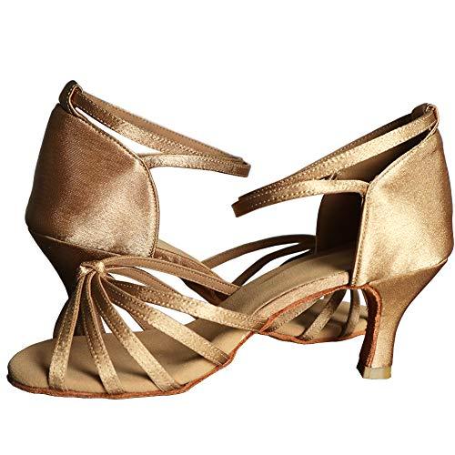 tacón Latino De Beige Para Alto Baile 7cm medio zapatos Mujer Lazo Tacón Vashcame CqwPFHx