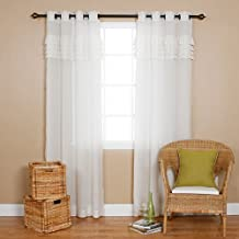 """IYUEGO Grommet Top Pleated White Sheer Curtains Grommet Top With Custom Multi Size 50"""" W x 96"""" L (One Panel)"""