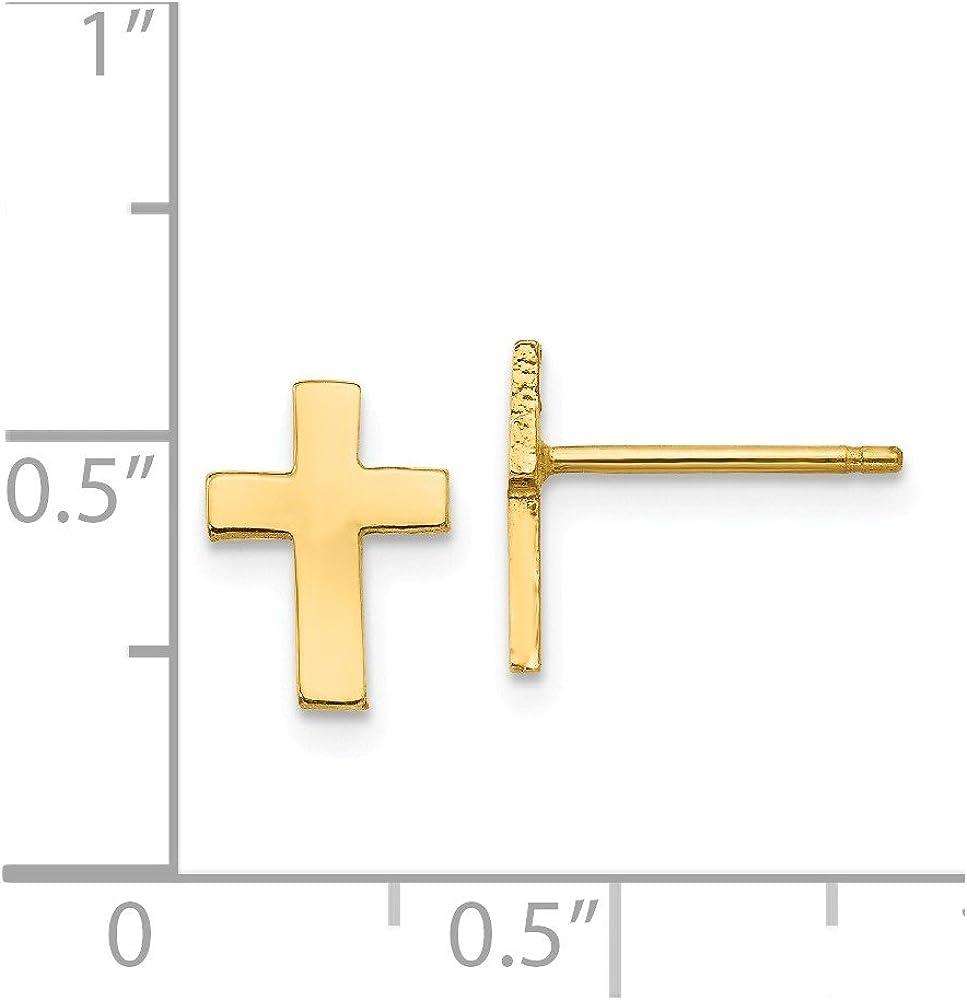 14k Polished Cross Earrings Religious Crosses