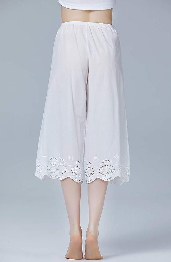 BEAUTELICATE Jupe Culotte Bouffante Femme 100/% Coton Pantacourt Ample Short sous Jupe Victorien Pantalon de Pyjama Court Grande Taille Ivoire