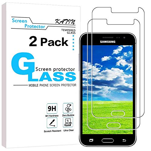 KATIN Galaxy J3 2016 Screen Protector - [2-Pack] (Japan Tempered Glass) for Samsung Galaxy J3 2016/ J3 V 2016 Bubble Free, Easy to Install with Lifetime Replacement Warranty