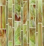 Bedrosians GLSRETSUBLMP ''Retrospect'' Mosaic with Linear Pattern, 12'' x 11.50'', Sublime
