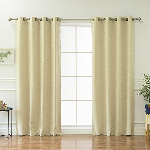 Best Home Fashion Star Print Thermal Insulated Blackout Curtains - Antique Bronze Grommet Top - Beige - 52