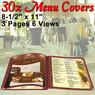 Menu Cover: PVC Vinyl 6 View Red (Cafe) 8-1/2''x11'' 30 Pcs by KOVAL INC.