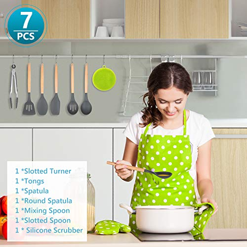 Kitchen Utensil Set,Silicone Cooking Utensils with Wooden Handles,7PCS Kitchen Tools Spatula Set for Nonstick Cookware,Apartment Essentials Gifts