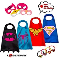 LAEGENDARY Superhero Costumes for Kids - 4 Capes and...