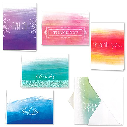 Ombre Watercolor Thank You Note Card Assortment Pack - Set of 36 cards - 6 designs blank inside - with white envelopes (53806) (Wedding Thank You Wording)
