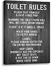Funny Toilet Rule Signs Mural  Vintage Canvas Print Woodgrain Background Design   Family Bathroom Wall Art Plaque (12 X 15 inch, Toilet Rules-D)