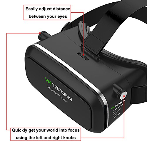 VR Headset TEPOINN Virtual Reality Headset for iPhoneX/ 8/ 8plus/7/7plus/6/6plus/6s/5, Samsung, LG & All Android Smartphone With Magnetic Front Cover, Adjust Strap by tepoinn (Image #3)