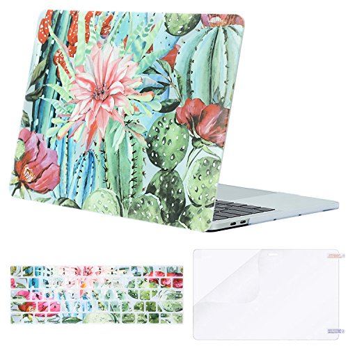 MOSISO MacBook Pro 13 inch Case 2019 2018 2017 2016 Release A2159 A1989 A1706 A1708,Plastic Flower Pattern Hard Case&Keyboard Cover&Screen Protector Compatible Newly MacBook Pro 13, Cactus