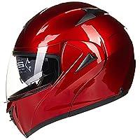 ILM 10 Colors Motorcycle Dual Visor Flip up Modular Full Face Helmet DOT (XL, Red) by ILM