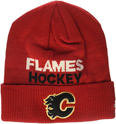 fan products of NHL Calgary Flames Adult Men Pro Authentic NHL Locker Room Beanie, One Size, Red