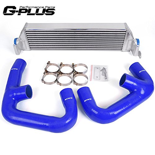 (Twin Intercooler Upgrade + Silicone Blue Hose Kit For Volkswagen Golf R GTI MK7)