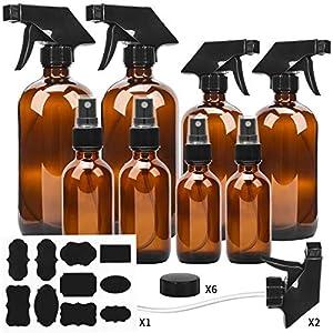 Glass Spray Bottle, ESARORA Amber Glass Spray Bottle Set – Essential Oils – Cleaning Products – Aromatherapy (16OZ x 2, 8OZ x 2, 4OZ x 2, 2OZ x 2)