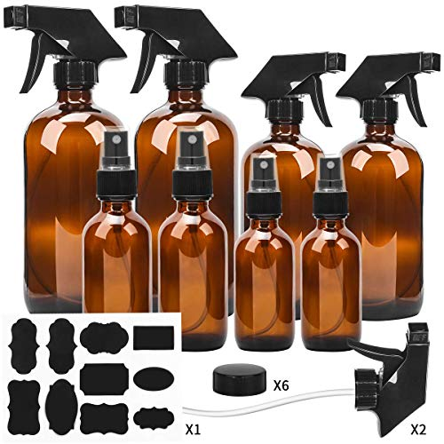 - Glass Spray Bottle, ESARORA Amber Glass Spray Bottle Set - Essential Oils - Cleaning Products - Aromatherapy (16OZ x 2, 8OZ x 2, 4OZ x 2, 2OZ x 2)