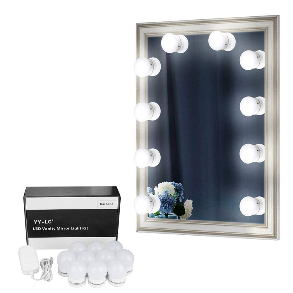 YY-LC LC178 Hollywood Spiegel Beleuchtung mit Dimmer Schalter 12V-Netzteil ,Verstecken Kann und Die Drähte Ersetzen,Schminktisch Leuchte Spiegellicht Set für Frisiertisch | Kosmetiktisch | DIY,10 Leuchten, ohne Spiegel [Energieklasse A++]