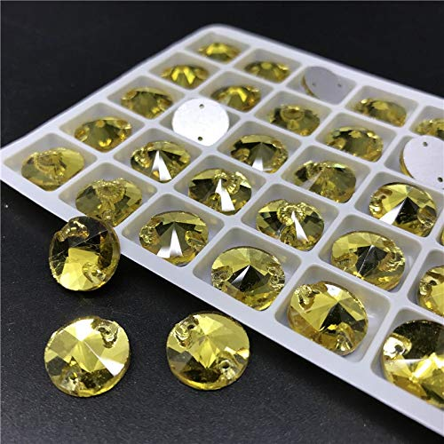 (Pukido Topaz Glass Crystal Rivoli Sew-On Stone Flatback Gold Yellow Round SEW ON Rhinestones for Dress Clothing Accessories - (Size: 10mm 120pcs))