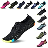 Lauwodun Womens and Mens Quick Dry Water Shoes Barefoot Aqua Sock Shoes for Beach Surfing Yoga Running Exercise-Black39