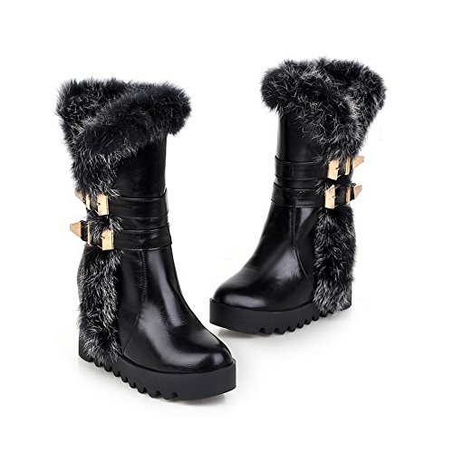 AgooLar Damen Hoher Absatz Rein Rund Zehe Blend-Materialien Ziehen auf Stiefel Schwarz
