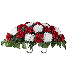 Red Rose and White Mum Mix Artificial Saddle Arrangement (SD2141) 25