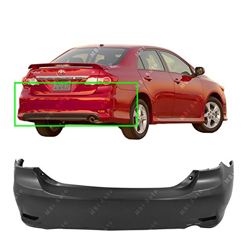 MBI AUTO - Primered, Rear Bumper Cover for 2011-2013 Toyota Corolla Sedan S/XRS 11-13, TO1100288