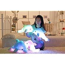 Mangadua Dolphin Stuffed Throw Pillows Glowing LED Night Light Plush Pillows (Pink)