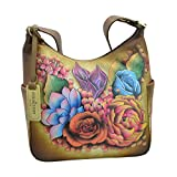 Anuschka Hand Painted Classic Hobo with Side Pockets, Llc-Bz-Lush Lilac Bronze