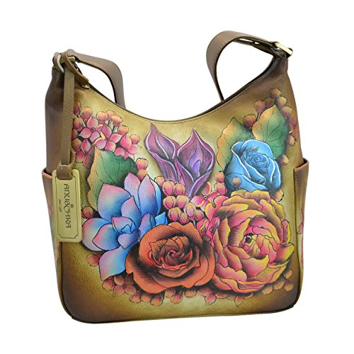 Hobo Bronze - Anuschka Hand Painted Classic Hobo with Side Pockets, Llc-Bz-Lush Lilac Bronze