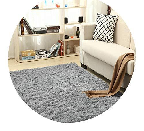 Super Soft Silk Wool Rug Indoor Modern Shag Area Rug Silky Rugs Bedroom Floor Mat Baby Nursery Rug Children Carpet,Silver Gray,50X80cm