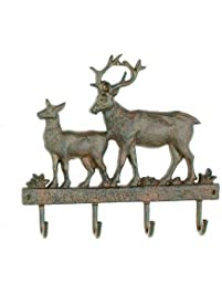 Cast Iron Deer Wall Key Rack Holder 4 Hooks Coat Hook Home Decor