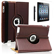 "iPad Pro 9.7 Case- Zeox iPad Pro 9.7 Cover 360 Degree Rotating Stand Case PU leather Smart Protective Shockproof Auto Sleep/Wake for Apple iPad Pro 9.7"" (2016 Model) Screen Protector, Brown"