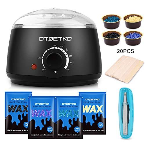 Waxing Kit DTOETKD Wax Warmer Hair Removal Waxing Kit for Women and Men with 4 Hard Wax Beans + 20 Wax Applicator Sticks + 4 Small Bowls + Eyebrow Tweezers (At-home Waxing)