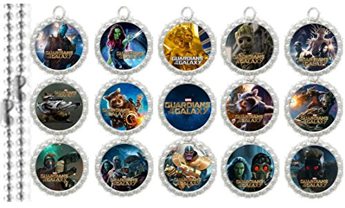 15 Guardians of the Galaxy Silver Bottle Cap Pendant Necklaces Set 1 (Groot Birthday Party Supplies)