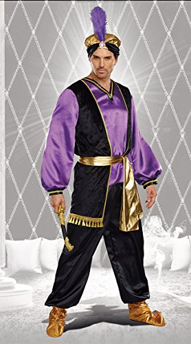 [Dreamgirl Men's The Sultan Costume, Purple/Black/Gold, Medium] (Arabian Costumes For Men)