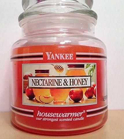 Yankee Candle Nectarine & Honey 14.5 oz Medium Housewarmer Jar - Retired Black Band - Honey Nectarine