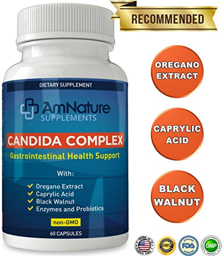 Candida Complex Supplement – Natural Yeast Infection Support with Enzymes and Probiotics – 60 Capsules by AmNature Supplements