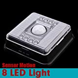 Black Auto 8 LED Light PIR Sensor Motion Detector Wireless Infrared Indoor by 24/7 store