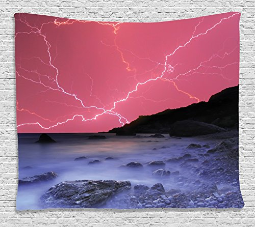 Lake House Decor Tapestry Wall Hanging By Ambesonne  Thunderstorm Bolts With Vivid Colorful Sky Like Solar Lights Phenomenal Nature Picture  Bedroom Living Room Dorm Decor  80 W X 60 L  Pink Grey