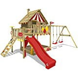 WICKEY Wooden Climbing Frame Smart Trip Monkey Bars Circus Tent Playhouse with Swing and Slide, Wooden roof, Sand Pit and Veranda