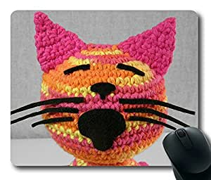 Crochet Cat Masterpiece Limited Design Oblong Mouse Pad by Cases & Mousepads by Maris's Diary