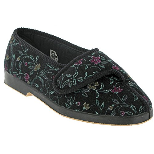 GBS Wilma Ladies Wide Fit Slipper Ladies Slippers Textile - BLACK Black 44wxen7tM