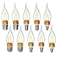 E27 E14 E12 B22 B15 2W 2LEDS LED Plastic&Aluminum Pure White Warm White Filament Light Bulb AC110V (Random: Base Color)