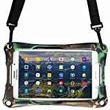 7'' inch tablet case, COOPER TROOPER 2K Shoulder Strap Rugged Heavy Duty Tough Bumper Protective Drop Shock Proof Rubber Silicon Carry Kids Toy Work Holder Carrying Cover Bag, Stand (Military)