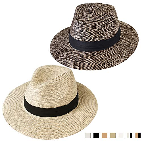 FURTALK Panama Hat Sun Hats for Women Men Wide Brim Fedora Straw Beach Hat UV UPF 50 Medium Size (22'-22.8'), 2 Pcs Beige/Black ()
