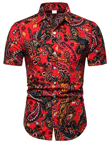 Men's Casual Floral Pattern Button Up Short Sleeve Shirt Tops, 8#Color